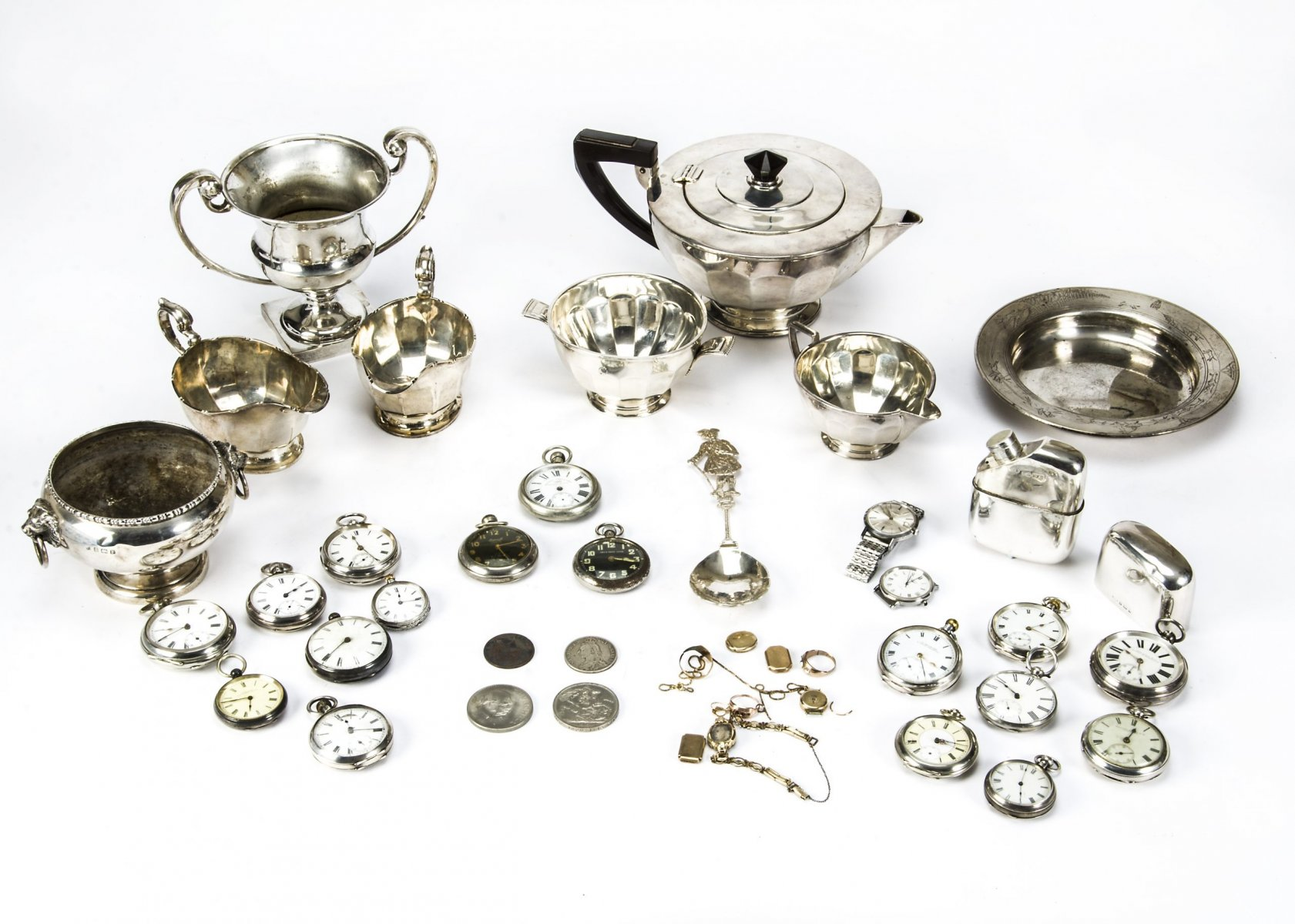 Mappin & Webb Silver Tea Service plus more silver and Pocket Watches plus others