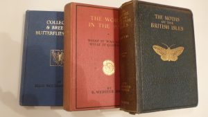 "Two Early Wayside and Woodland series books, The Moths of the British Isles and The World in the Past. Also ""Collecting Butterflies and Moths"" published by Frederick Warne."