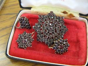 Garnet Brooch Earings and Ring