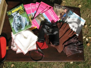 Box with three pairs of leather gloves, OS maps, Binoculars, Diana and QUessn Elizabeth souvenir programmes and moreA