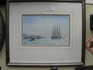 Painting by Colin M Baxter of Tall ship in entrance to Portsmouth Harbour