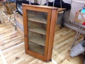 Pine corner cabinet glazed