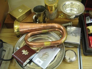 Lot 130 - Military Bugle and other crested items inc. cigarette cases, mugs, bowls and hip flask - Sold for £50