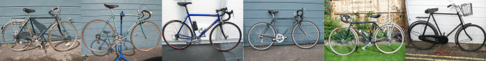Cycles sold in 2014 - Early Dawes Tourer 531ST, Holdsworth 531ST, Ruxley with Campagnola parts, Dawes Galaxy Tourer 531ST, FW Evans Tourer 531ST, Vintage Raleigh Police Bike 1930s frame