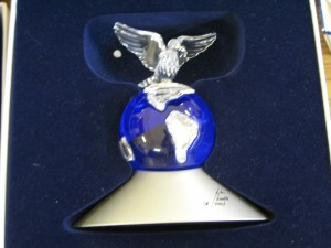 Lot 259 - Swarovski Dove on a Globe - Sold for £45