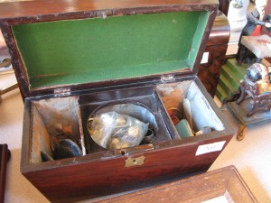 Lot 201 - Tea caddy for two tea boxes and mixing bowl. With mixed contents inc. compact, jewellery, spoon. Sold for £100