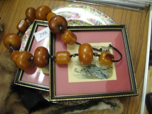 Amber necklace and other items