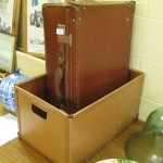 leather suitcase and box