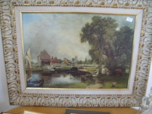 Lot 153 - Constable countryside scene in ornate frame - Sold for £35