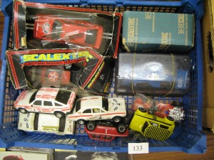 Lot 133 - Box of Scalextric Cars - Sold for £30