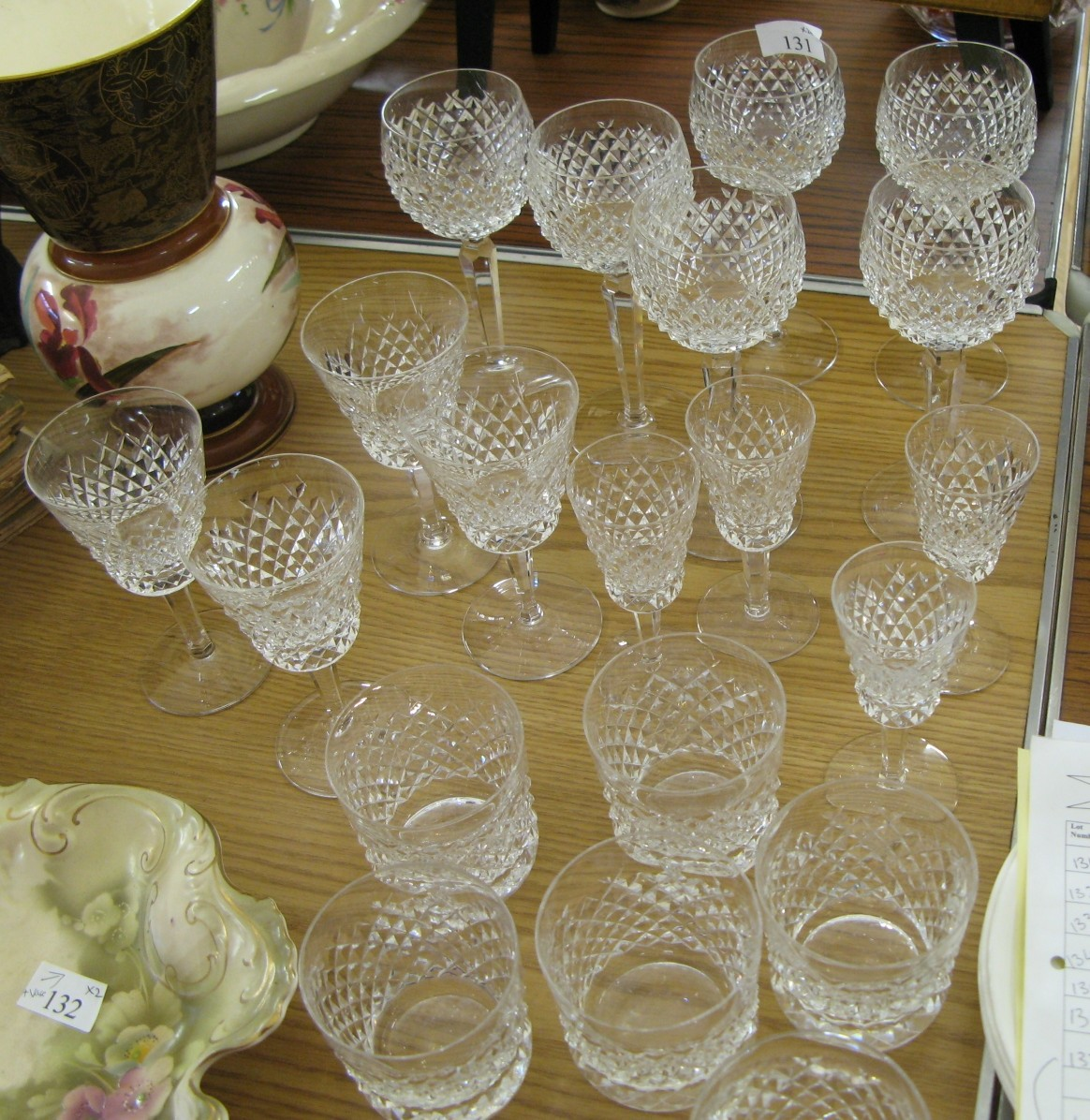 Collection of cut glass glasses - Sold for £135