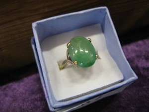 Lot 87 - Possibly Jade stone gold ring - Sold for £28