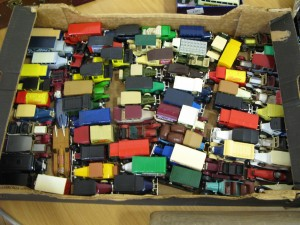 Lot 104 - Box of about 100 toy cars Matchbox etc. - Sold for £30