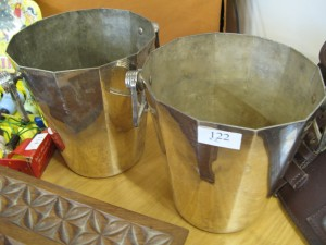Lot 122 - Pair of ice buckets possibly silver plate - Sold for £40
