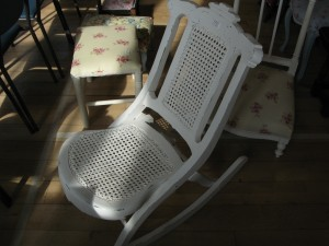 Lot 111 - Victorian Caned Rocking Chair - Sold for £45