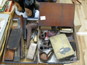 Lot 46 - Collection of smoking items including pipes, boxes, knives and razor strops - Sold for £65