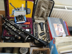 Lot 51 - 4 clarinets, sheet music and 45rpm records - Sold for £60