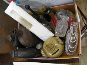 Lot 56k - Collection of glassware, hip flasks and ceramics - Sold for £75
