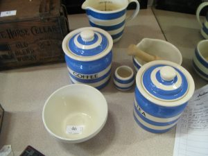 Lot 46 - Collection of Cornishware - Sold for £65