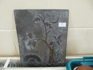 Lot 13 - metal plaque with owl - Sold for £24