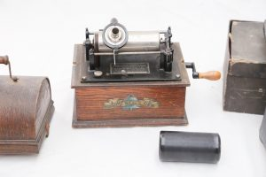 Lot 160 - Edison Bell Gem cylindrical record player and wax cylinders - Sold for £110