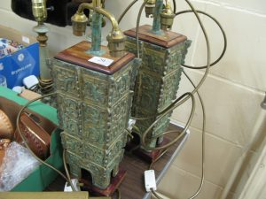 Lot 29 - Heavy oriental table lamps - Sold for £27