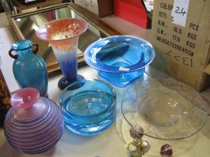 Lot 279 - Six studio glass vases and bowls - Sold for £35