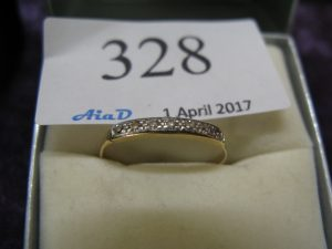 Lot 328 - 18ct gold eternity ring - Sold for £40