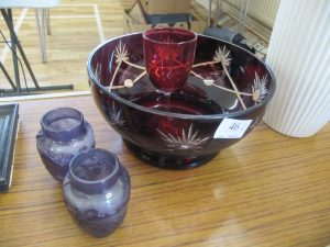 Lot 46 - Cranberry glass bowl and wine glass with two lilac glass vases - Sold for £40