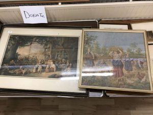 Lot 365 - 2 framed prints of market and harvest scenes - Sold for £45