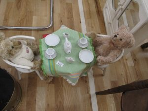 Lot 314- Teddy Bears, tea set, table and chairs - Sold for £30