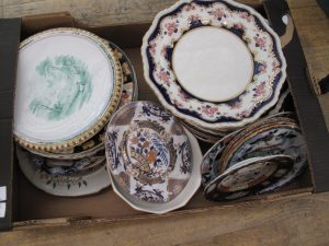 Lot 130 - Box of mixed china plates - Sold for £40