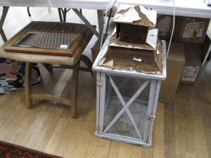 Lot 186 - Mirror, Seat, Candle Holder - Sold for £40