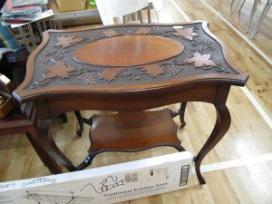 Lot 311 - Carved mahogany occasional table - Sold for £35