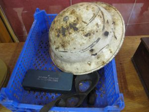 Lot 344 - Helmet and other militaria - Sold for £30