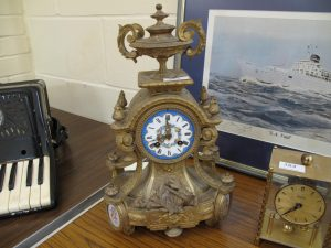 Lot 385 - Ormolu Enameled Mantle Clock - Sold for £100