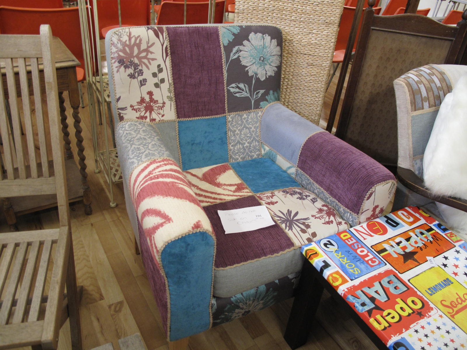 Lot 191 - Patchwork armchair - Sold for £35