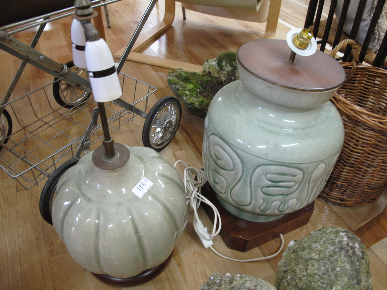 Lot 158 - Two celadon lamp bases - Sold for £35