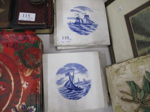 Lot 110 - 6 x blue and white nautical tiles - Sold for £50