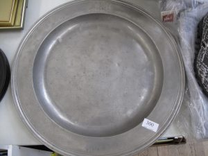 Lot 300 - Pewter charger - Sold for £35