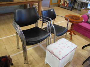 Lot 171 - Four steel and leather dining chairs - Sold for £37