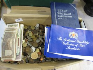 Lot 244 - Collection of banknotes and coins - Sold for £40