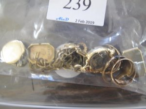 Lot 239 - Gold scrap including watch backs rings chains - Sold for £150