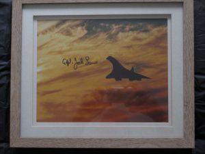 Concorde print signed by Captain Jock Lowe - longest serving Concorde pilot