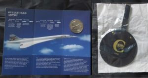 Illustrious History of Concorde coin and 1983 luggage tag