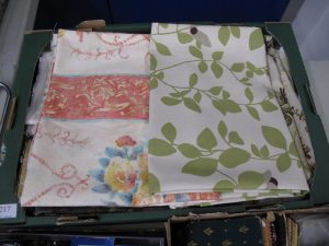 Lot 217 - Box of assorted fabrics inc Laura Ashley Parker Knoll Romo - Sold for £25