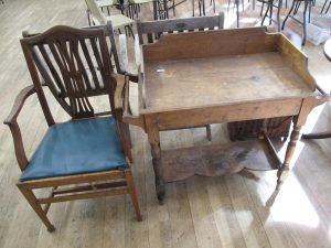 Lot 244 - Wooden Washstand and Armchair - Sold for £25