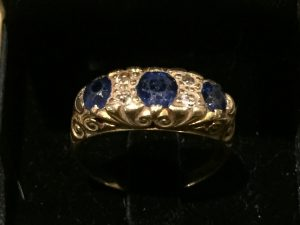 Sapphire Diamond gold ring. Estimate £200-£300