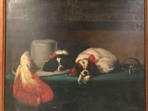 Victorian painting of King Charles Spaniels. Estimate £150-£200