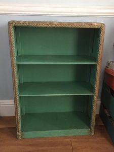 Bookshelves with a Lloyd Loom edge